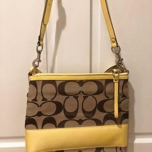 NWOT Coach Monogram Yellow Crossbody Bag Satchel